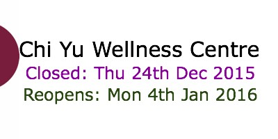 Chi Yu Closed Dates for Christmas Holidays