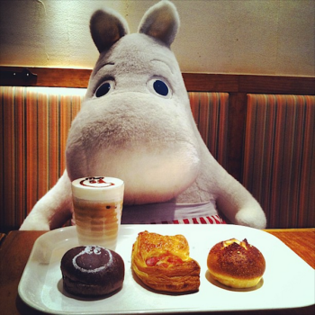 Having with cakes with moomin in moomin cafe