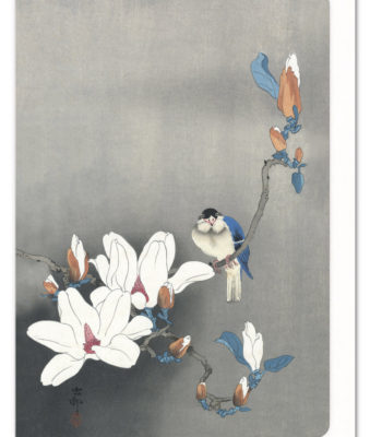 Blue Bird on Magnolia Ezen greeting card 5060378040133 ANM_14