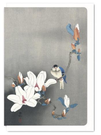 Blue Bird on Magnolia Ezen greeting card 5060378040133 ANM_14