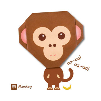 ORG07002-Origami-Monkey-Card