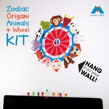 made-by-man-Zodiac-origami-Animals-and-Wheel-kit-picture-on-wall